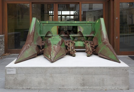 Bacteria (Decomposition). Corn head from 1976 John Deere 3300 combine harvester. Installation at the Aldrich. Photo Cathy Carver.