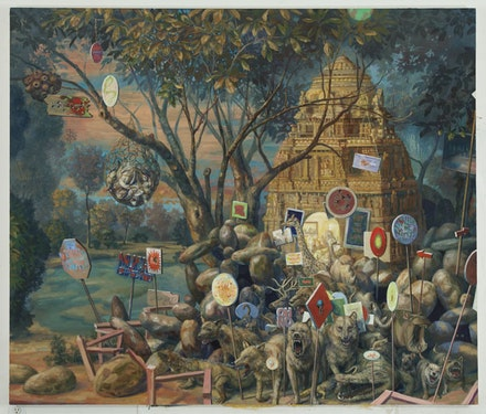 Julie Heffernan, <em>Self-Portrait as Millennium Burial Mound</em>, 2012. Oil on canvas. 68 × 80 inches. © Julie Heffernan. Courtesy of the artist and P·P·O·W, New York.