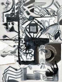 Tobias Pils. <em>Untitled (city)</em>, 2016. Mixed media on canvas. 202 x 152 cm, 79 1/2 x 59 7/8 inches.
