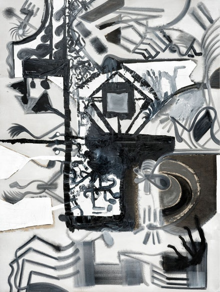 Tobias Pils. <em>Untitled (city)</em>, 2016. Mixed media on canvas. 202 x 152 cm, 79 1/2 x 59 7/8 inches.