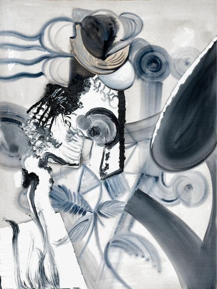 Tobias Pils. <em>Untitled (flowers)</em>, 2016. Mixed media on canvas. 202 x 152 cm, 79 1/2 x 59 7/8 inches.