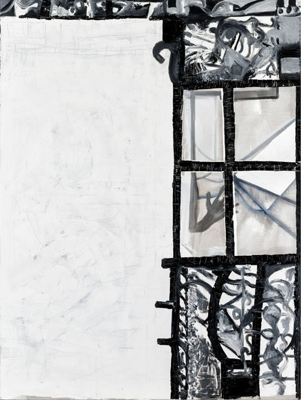 Tobias Pils. <em>Untitled (window)</em>, 2016. Mixed media on canvas. 202 x 152 cm, 79 1/2 x 59 7/8 inches.