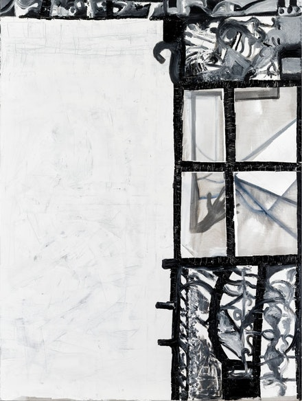 Tobias Pils. <em>Untitled (window)</em>, 2016. Mixed media on canvas. 202 x 152 cm, 79 1/2 x 59 7/8 inches.