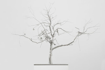 Roxy Paine. <em>After the Flood</em>, 2017 stainless steel. 41 3/4 x 55 5/8 x 25 1/2 inches. Courtesy of the artist and Paul Kasmin Gallery. Photo: Christopher Stach.