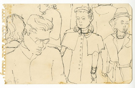 Alex Katz. <em>Crowd on Subway</em>, c. 1940s. Pen. 4 7/8 x 7 7/8 inches. © Alex Katz / DACS, London / VAGA, New York. Courtesy Timothy Taylor 16×34.