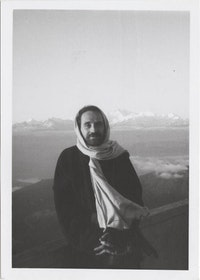 John Giorno in front of Mt. Everest, 1971.