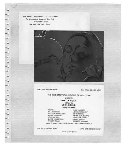 <em>DIAL-A-POEM</em> AT THE ARCHITECTURAL LEAGUE OF NEW YORK. FROM JOHN GIORNO'S 1969-1970 PUBLICITY SCRAPBOOK), 1969.