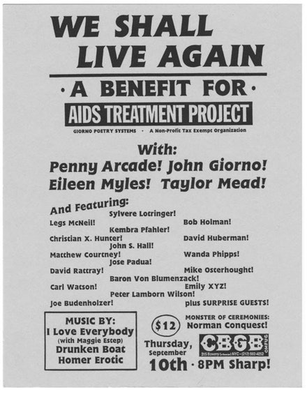 WE SHALL LIVE AGAIN: A BENEFIT FOR AIDS TREATMENT PROJECT, 1987.