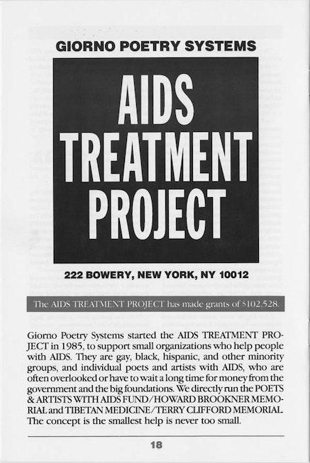 GIORNO <EM>POETRY SYSTEMS CATALOG #19</EM>, 1987.
