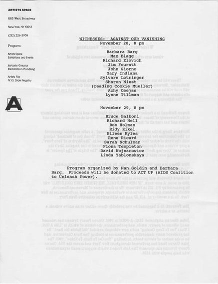 WITNESSES: AGAINST OUR VANISHING, 1990.