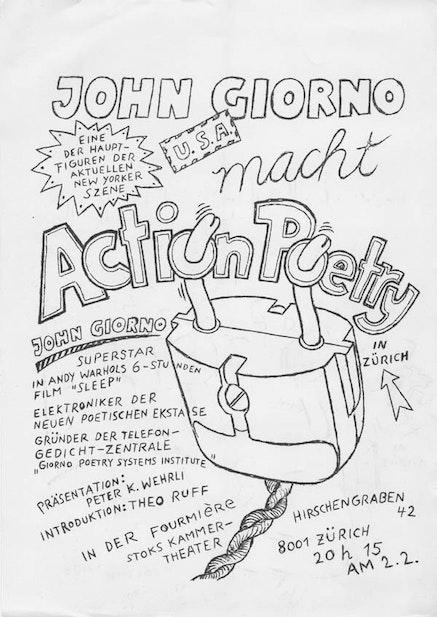 JOHN GIORNO <EM>MACHT ACTION POETRY</EM>, 1972.