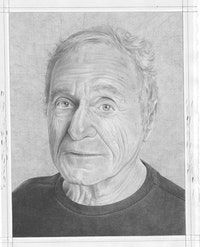 <em>PORTRAIT OF JOHN GIORNO</em>. PENCIL ON PAPER BY PHONG BUI.