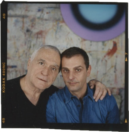 John Giorno and Ugo Rondinone, with painting <em>no. 262 dreiundzwanzigsterjanuarzweitausendundzwei</em> by Rondinone on wall behind. Photo: Peter Ross.