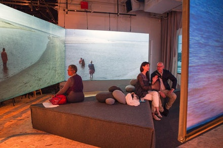 <em>36.5 / a durational performance with the sea </em>(2017), multi-channel video installation by Sarah Cameron Sunde (Photo credit: Marina McClure)