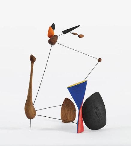 <em>From Calder/Mir&#243;: Constellations.</em> Alexander Calder, <em>Constellation with Diabolo</em>, 1943 wood, wire and paint 24 1/2