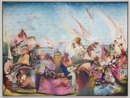 Ali Banisadr,<em> Myth</em>, 2016, oil on linen, 66 x 88 in. (Photo credit: Robert Vinas, Jr, (c) Ali Banisadr, Courtesy Sperone Westwater, New York.)