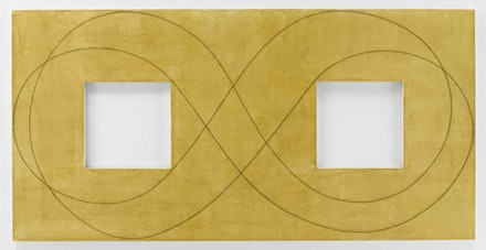 Robert Mangold, <em>Yellow Double Square/Loop</em>, 2015, acrylic and black pencil on canvas 48 × 96 in.  (121.9 × 243.8 cm) © 2017 Robert Mangold/Artists Rights Society (ARS), New York <em>(Photo credit: Tom Barratt, courtesy of Pace Gallery)</em>.