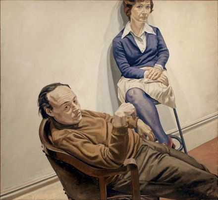 Philip Pearlstein, <em>Portrait of Al Held and Sylvia Stone</em>, 1968, oil on canvas, 66 × 72 in., Image courtesy of Betty Cuningham Gallery.