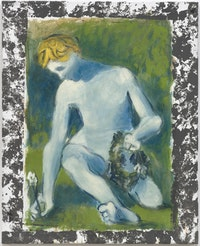 Markus Lüpertz, <em>Narziss I (Narcissus I)</em>, 2016,39 1/4 × 32 in. (100 × 81 cm) <em>(Courtesy Michael Werner Gallery, New York and London)</em>.
