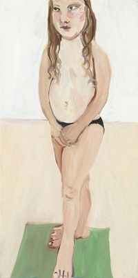 Chantal Joffe, <em>Bella Standing</em>, 2016, oil on canvas<br>   39 1/4 × 19 3/4 × 1 1/4 in. (99.7 × 50.2 × 3.2 cm) (Photo courtesy Cheim & Read)