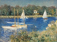 Claude Monet, <em>The Basin at Argenteuil</em>, 1874. Oil on canvas. 21 3/4 × 29 1/4 inches. Photograph by Erik Gould, courtesy the Museum of Art, Rhode Island School of Design, Providence