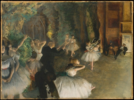 Edgar Degas, <em>The Rehearsal of the Ballet Onstage</em>, ca. 1874. Oil colors freely mixed with turpentine, with traces of watercolor and pastel over pen-and-ink drawing on cream-colored wove paper, laid down on Bristol board and mounted on canvas. 21 3/8 x 28 3/4 inches. Collection of the Metropolitan Museum of Art, New York