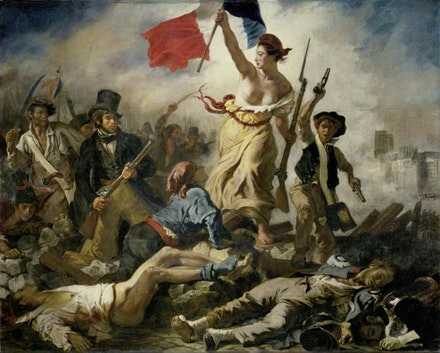 Eugène Delacroix, <em>Liberty Leading the People (July 28, 1830)</em>, 1830. 2.6 x 3.25 meters. Collection of the Louvre Museum, Paris.