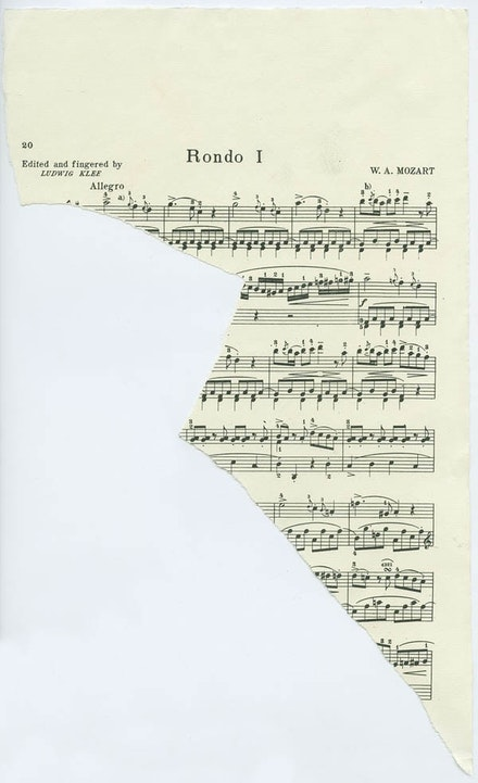 Images of torn lithographic sheet music, Dedalus Foundation Archives.