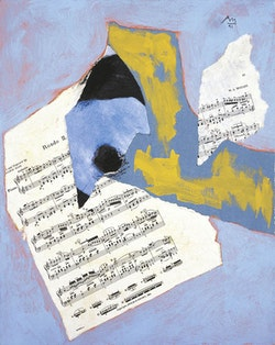 Final State: Robert Motherwell, Mozart Rondo, 1990-1991, Acrylic and pasted papers on canvas mounted to panel, 19 1/4 x 15 1/4 in. Dedalus Foundation Archives.