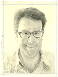 Portrait of Toby Kamps. Pencil on paper by Phong Bui. From a photo by Anton Henning.