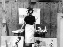 Carmen de Monteflores with her paintings at the Art Students League, New York, 1950s.