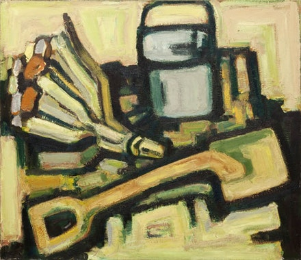 Guy Goodwin, <em>Vacation</em>, 1985. Oil on linen, 48 x 55 in. Courtesy Brennan & Griffin.