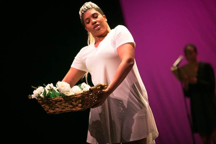 Choreographer/Dancer Safi Harriott in her piece <em> Sorry Uncle Johnny.</em> Credit: Shane Drummond