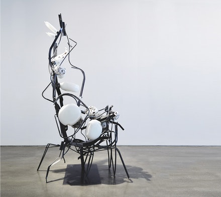 Jo Nigoghossian,<em> Being, with blown glass (black & white)</em>, 2017. Powder-coated steel, glass. 144 x 63 x 96 inches. Photo courtesy Team (gallery, inc.)