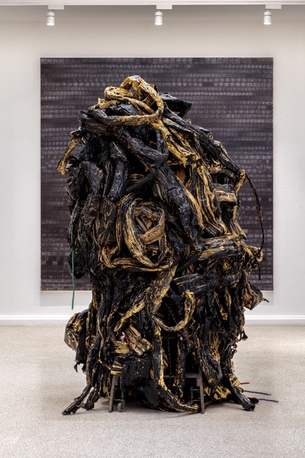 Mark Bradford, <em>Medusa</em>, 2016. Mixed media. Dimensions variable. Photo: Joshua White. Courtesy the artist and Hauser & Wirth.