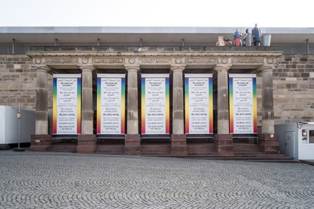 Hans Haacke, Wir (alle) sind das Volk—We (all) are the people, 2003/2017, five banners, installation view, Friedrichsplatz, Kassel, © Hans Haacke/VG Bild-Kunst, Bonn 2017, documenta 14, photo: Mathias Völzke