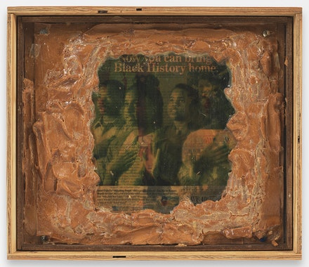 Pope.L, <em>Truth and Time a.k.a. Now You Can Bring Black History Home</em>, 1994. Gel medium, magazine photos and peanut butter on plywood with thumbtacks in plywood container. 13 1/8 by 15 1/4 by 3 in. © Pope.L. Courtesy of the artist and Mitchell-Innes & Nash, NY.