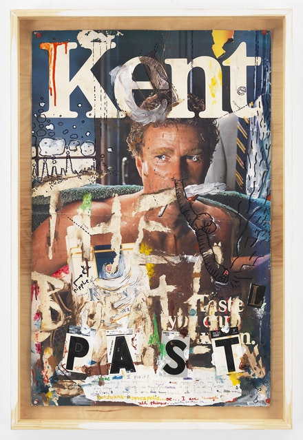 Pope.L, <em>Wordy Advertisement</em>, 1983-2013. Acrylic, ballpoint, cellophane tape, collage, graphite, ink, marker, oil stick and vinyl letters on found cardboard advertisement with pushpins in artist's frame. 36 1/4 by 24 1/2 in. © Pope.L. Courtesy of the artist and Mitchell-Innes & Nash, NY.