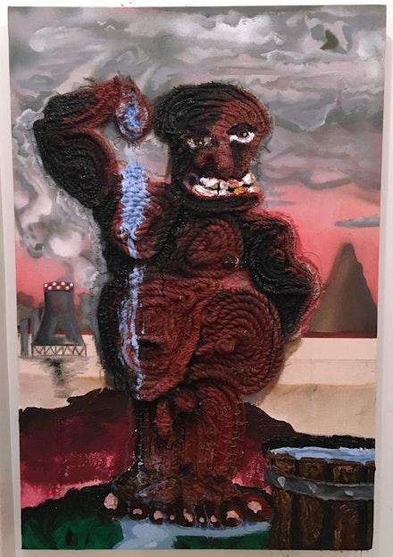 Bryce Zackery, <em>Coal Miner</em>, 2017. Acrylic on jute, Manila, and nylon rope sewn on burlap and canvas on woodblock and MDF frame. 36 x 48 x 4 in. Courtesy Regina Rex.