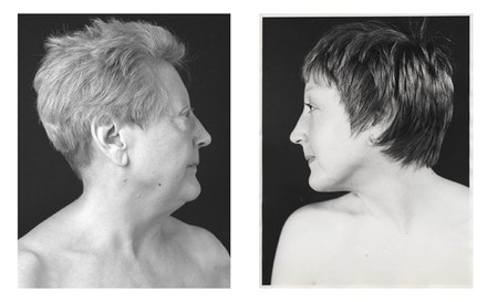 Martha Wilson, <em>Beauty and Beastly</em>, 1974 and 2009. Black and white photographs, text. Edition 2 of 3. 17 x 23 in. Courtesy the artist and P.P.O.W, New York.