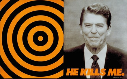 Donald Moffett, <em>He Kills Me</em>, 1987. Poster, offset lithography. Courtesy of the artist and Marianne Boesky Gallery, New York, Aspen. © Donald Moffett.