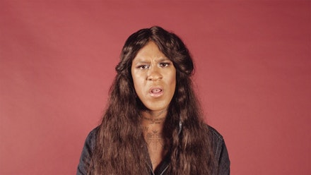 Mykki Blanco and Adinah Dancyger, <em>I Want a Dyke For President</em>, 2016. Video.  Performed by Mykki Blanco. Directed by Adinah Dancyger. Text by Zoe Leonard (1992). Produced by Thomas Gorton for Dazed. Make Up by Raisa Flowers.  Camera and Sound Assistance by Alice Plati. Courtesy of the artists and Dazed.