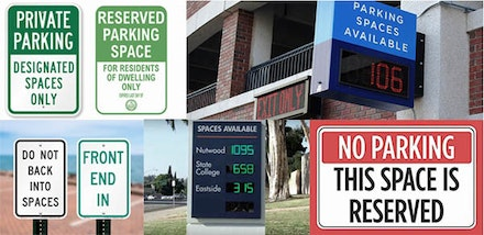 Collage of parking sign advertisements by the author