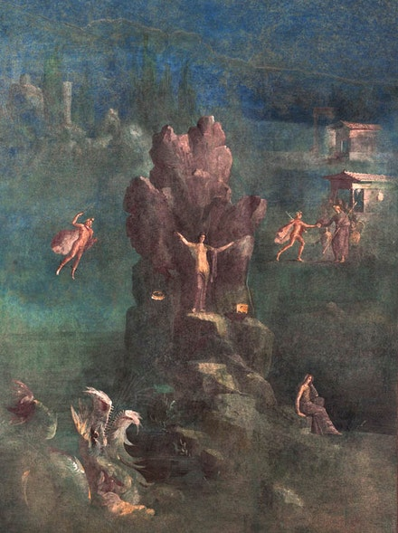 Roman Fresco: Perseus and Andromeda in landscape, from the imperial villa at Boscotrecase, last decade of the 1st century B.C.