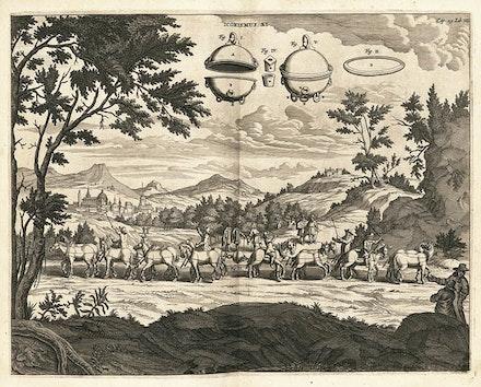 Gaspar Schotts, Otto von Guericke's 'Magdeburg hemispheres' experiment, Engraving, 1657
