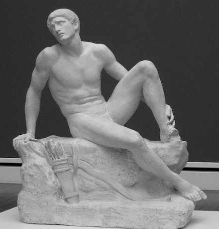 Adolf von Hildebrand, Philoctetes, Marble, 1886  The figure is missing his left foot. According to legend, the goddess, Hera, sent a snake that bit Philoctetes's foot.