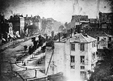 Louis-Jacques-Mand&eacute; Daguerre, <em>View of the boulevard du Temple, Paris</em>, 1838.