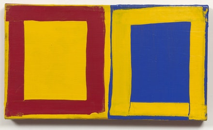 Mary Heilmann, <em>Little Three for Two: Red, Yellow, Blue, 1976</em> Acrylic on canvas. 13 1/2 x 24 x 1 7/8 in. The Museum of Modern Art, New York.  Photo by Thomas Muler