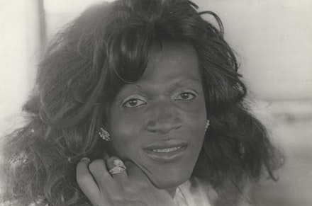 Alvin Baltrop <i>Marsha P. Johnson,</i> n.d. (1975-1986) silver gelatin print, image size: 21.9 x 33.1 cm, paper size: 27.5 x 35.4 cm