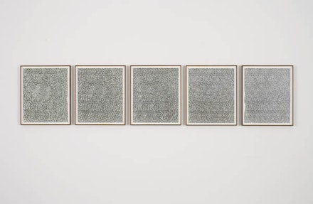 Lisa Oppenheim, <em> Leisure Work (Version IV),</em> 2012. suite of 5 silver gelatin photograms 25 x 133 inches; 63.5 x 337.8 cm (overall) 25 x 21 inches; 63.5 x 53.3 cm (each framed) 24 x 20 inches; 61 x 50.8 cm (each unframed) Courtesy the artist and Tanya Bonakdar Gallery, New York